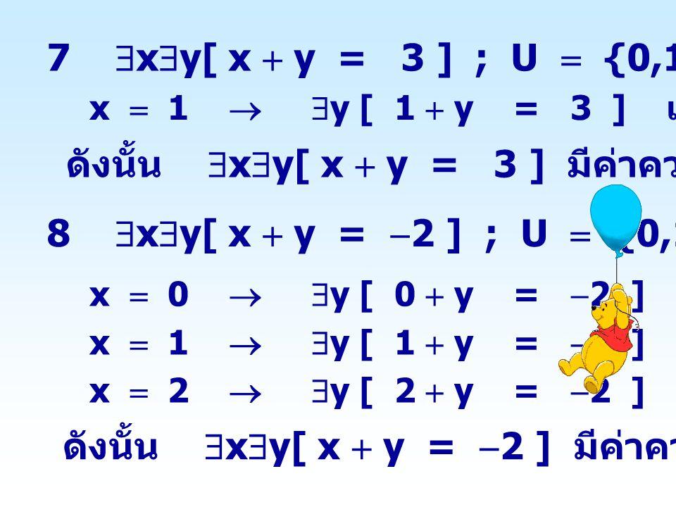 ดังนั้น xy[ x  y = 3 ] มีค่าความจริงเป็นจริง